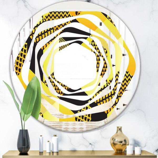 Whirl Hexagon Pattern II Modern & Contemporary Frameless Wall Mirror