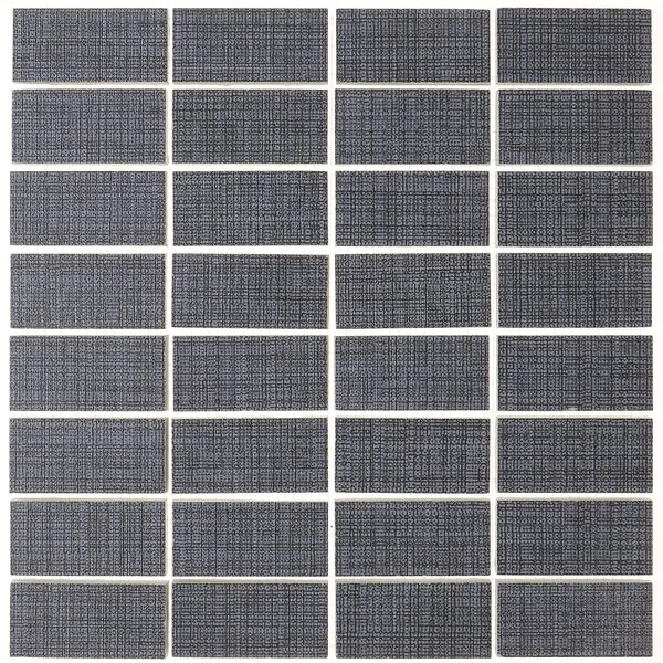 1 x 3 Ceramic Mosaic Tile in Modern Text Midnight Blue by Itona Tile