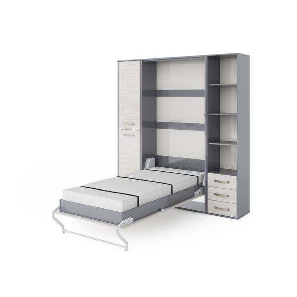 Orenda Vertical Wall Queen Storage Murphy Bed with Mattress by Latitude Run