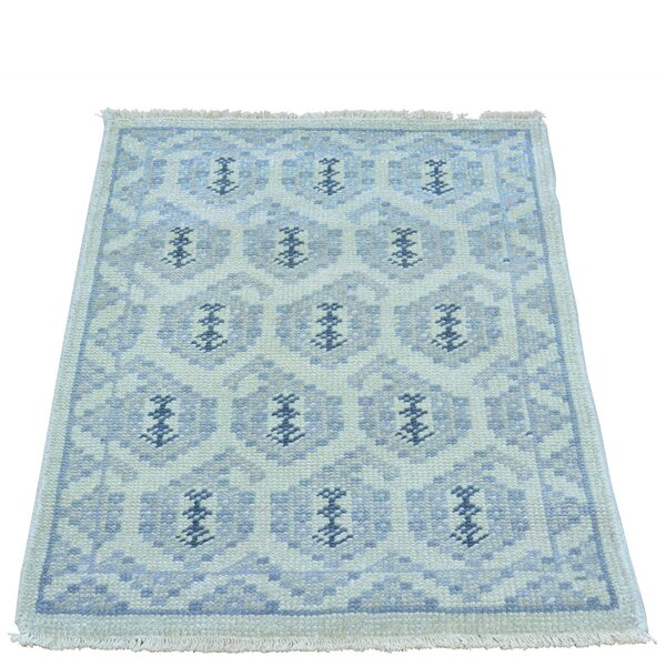 One-of-a-Kind Dessie Knot Paisley Hand-Knotted Blue Area Rug by Bungalow Rose