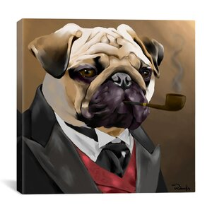 Pug Clothes by Brian Rubenacker Graphic Art on Canvas by iCanvas