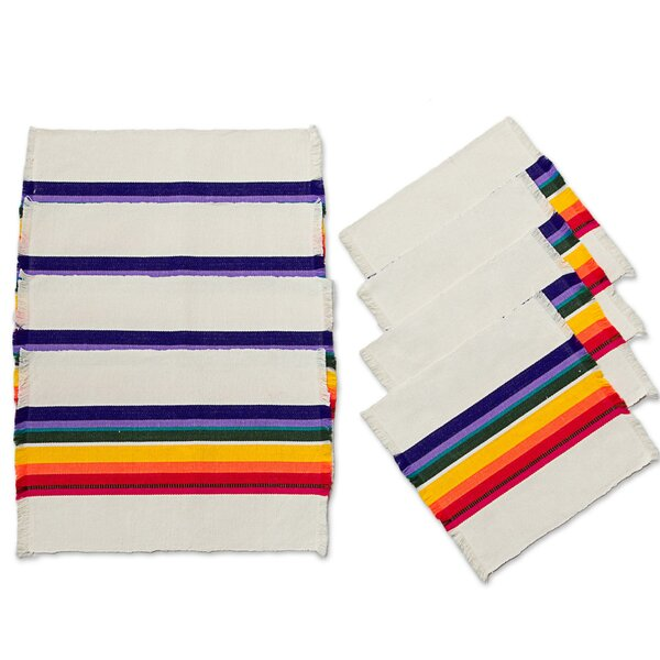Fiesta in Chapala Cotton Placemat and Napkin Set by Novica