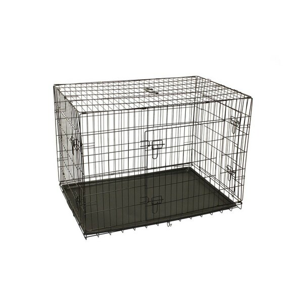 Keenum 3 Doors Folding Suitcase Dog Cat Crate with ABS Tray and Divider by Tucker Murphy Pet