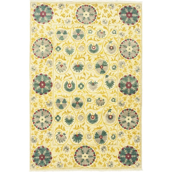 One-of-a-Kind Dewitt Hand-Knotted Wool Beige/Yellow Indoor Area Rug by Isabelline