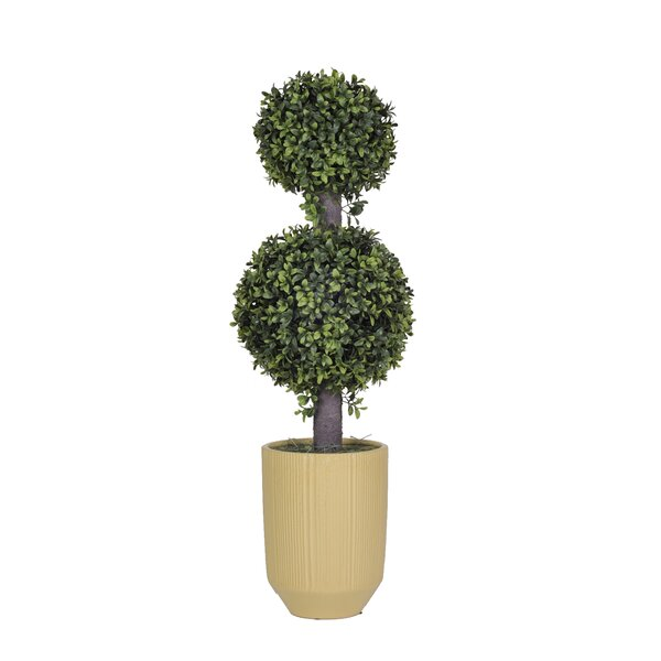Artificial Double Boxwood Ball Topiary in Planter by House of Silk Flowers Inc.