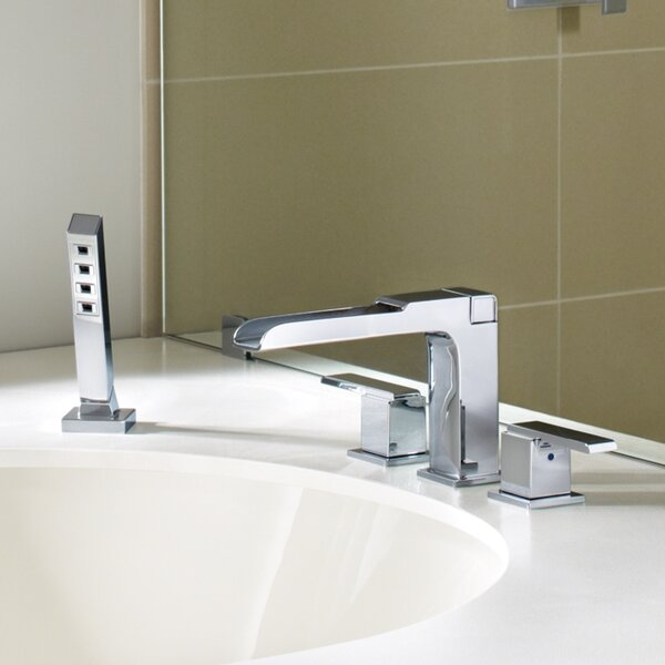 Ara Double Handle Deck Mounted Roman Tub Faucet Trim with Handshower by Delta Delta