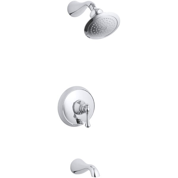 Revival Rite-Temp Pressure-Balancing Bath and Shower Faucet Trim with Push-Button Diverter and Traditional Lever Handle, Valve Not Included by Kohler