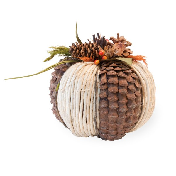 Pinecone Raffia Pumpkin by The Holiday Aisle