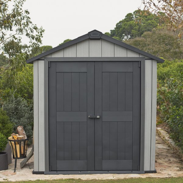 Oakland 7 ft. 6 in. W x 7 ft. 4 in. D Plastic Storage Shed by Keter