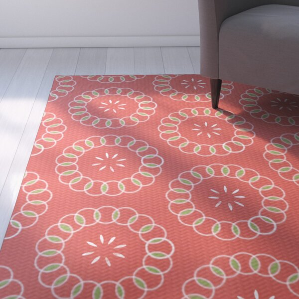 Alexis Floral Print Red Indoor/Outdoor Area Rug by Ebern Designs