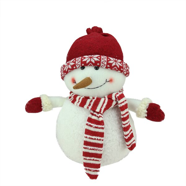 Chubby Smiling Snowman with Cap Plush Table Top Christmas Figure by Northlight Seasonal