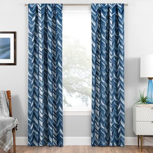 Avah Chevron Blackout Thermal Rod Pocket Single Curtain Panel