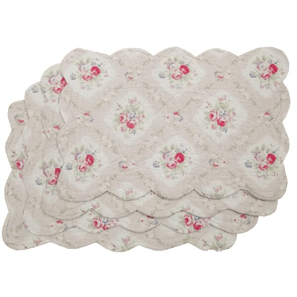 Reversible Quilted Floral Placemat (Set of 4) by Textiles Plus Inc.