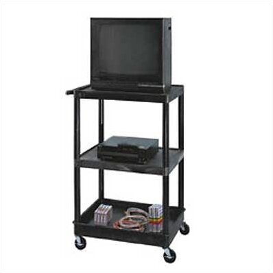 LP Carts Open Shelf AV Cart with Lower Tray by Luxor