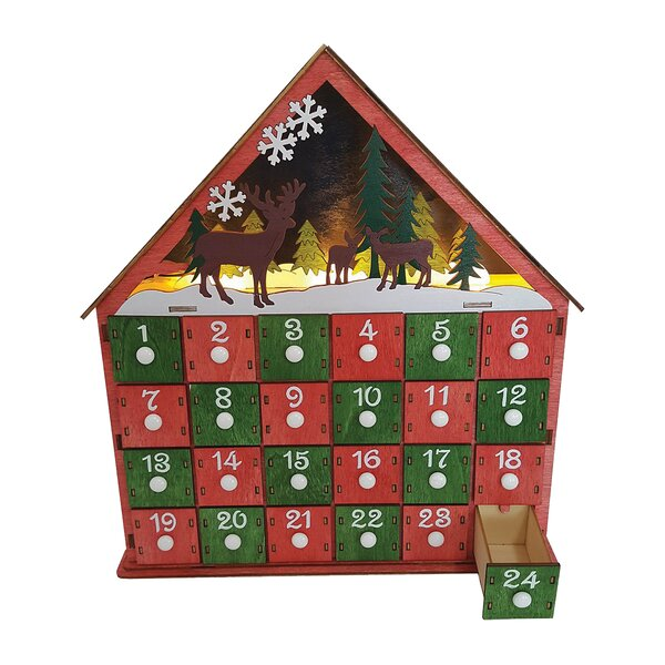 Burrier Lighted Reindeer Advent Calendar by The Holiday Aisle