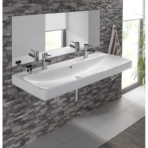Smyle Vitreous China 48 Wall Mount Bathroom Sink with Overflow by Bissonnet