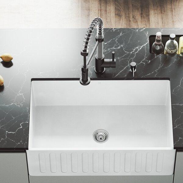 30 x 18 Farmhouse Kitchen Sink with Basket Strainer by VIGO