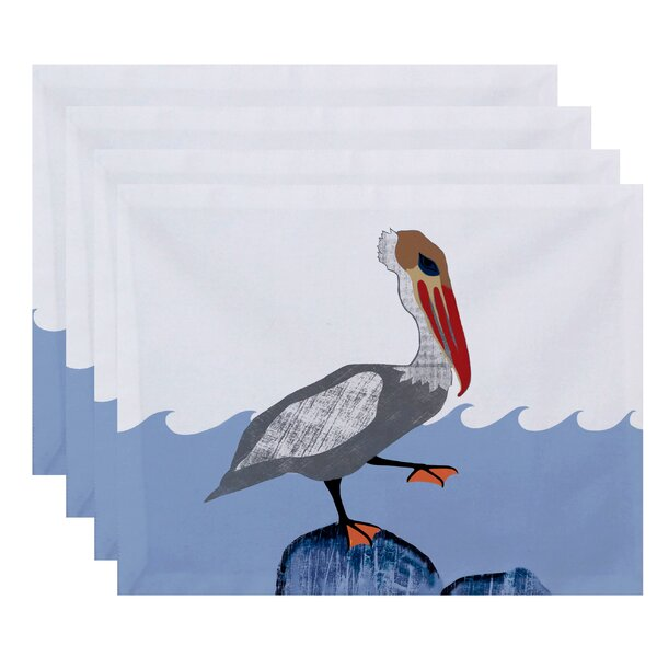Oakley Bird Wave Animal Print Placemat (Set of 4) by Rosecliff Heights