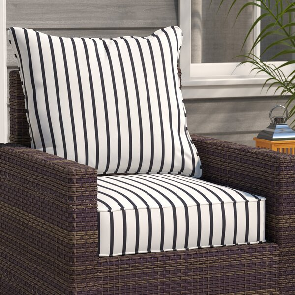 Stripe Indoor/Outdoor Sunbrella Dining Chair Cushion by Breakwater Bay