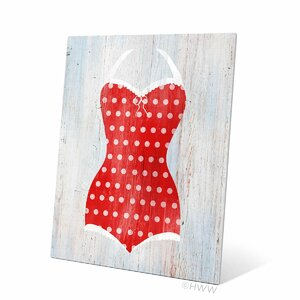 Vintage Red Polka Dot Bathing Suit Illustration Graphic Art Plaque by Click Wall Art