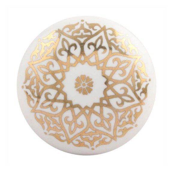 Golden Flower Flat Ceramic Drawer Knob by MarktSq