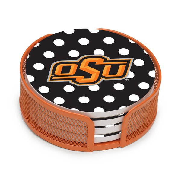 5 Piece Oklahoma State University Dots Collegiate Coaster Gift Set by Thirstystone