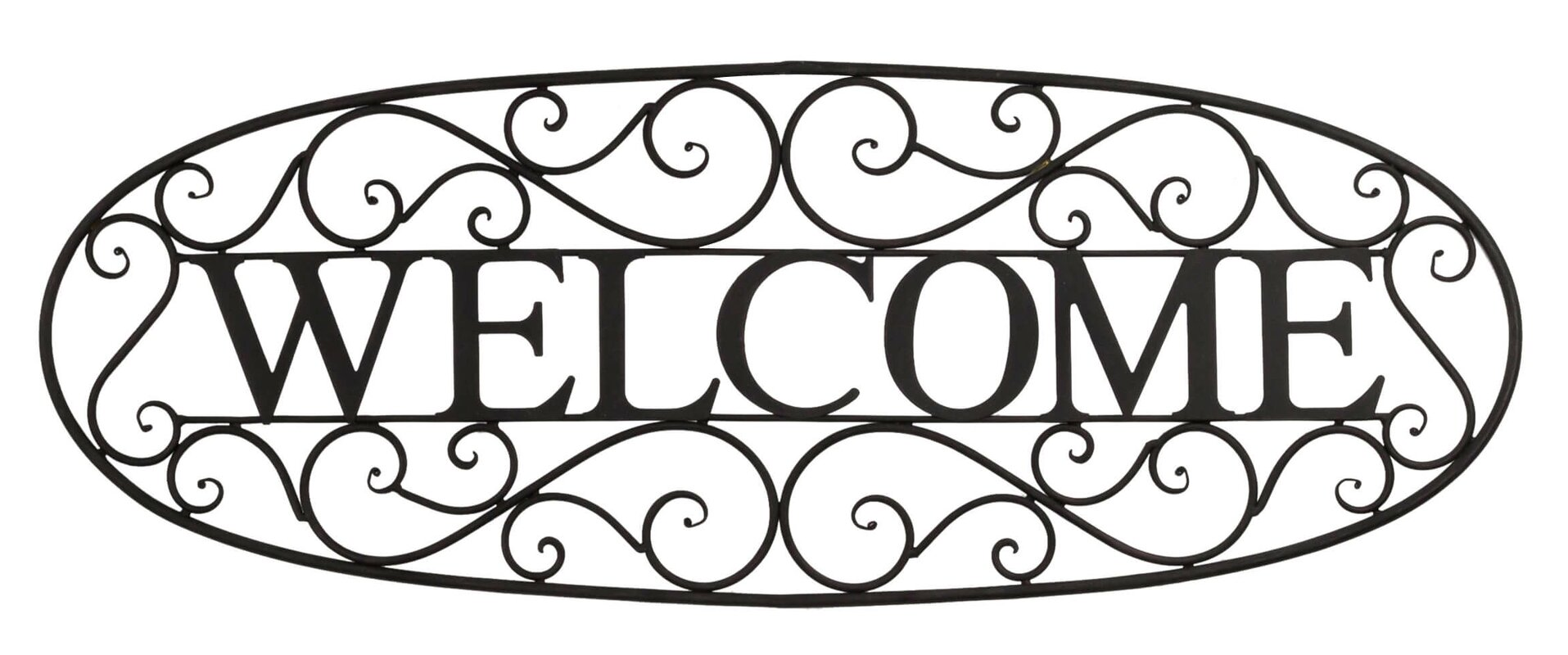 Black Wrought Iron Wall Decor Fascinating Bayaccents Welcome Sign Wrought Iron Wall Décor & Reviews  Wayfair Decorating Inspiration