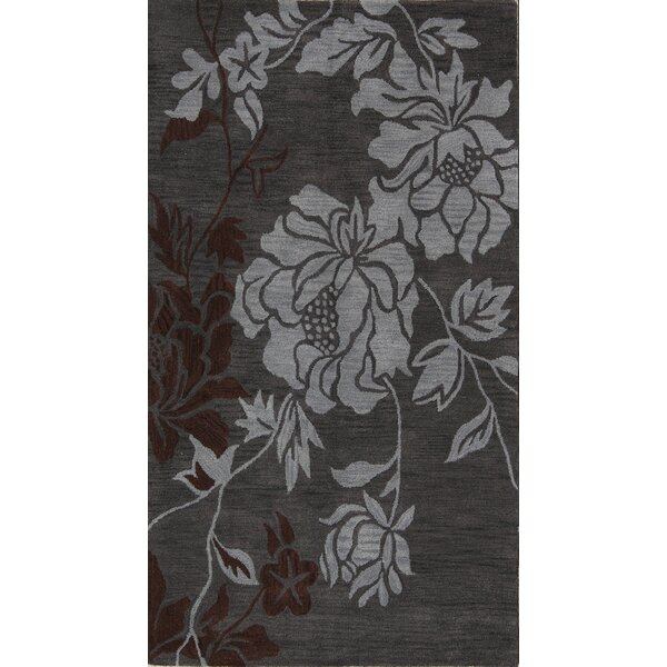 Lea Oushak India Oriental Hand-Tufted Wool Gray/Charcoal Area Rug by Winston Porter