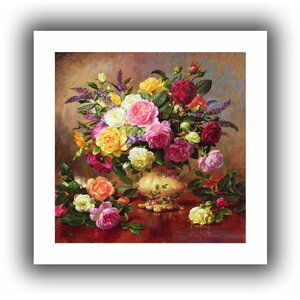 Roses from a Victorian Garden' by Albert Williams  Painting Print on Rolled Canvas by ArtWall