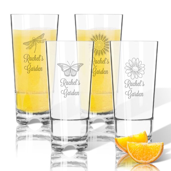 Personalized 4 Piece Garden Tritan 16 oz. High Ball Glass by Carved Solutions