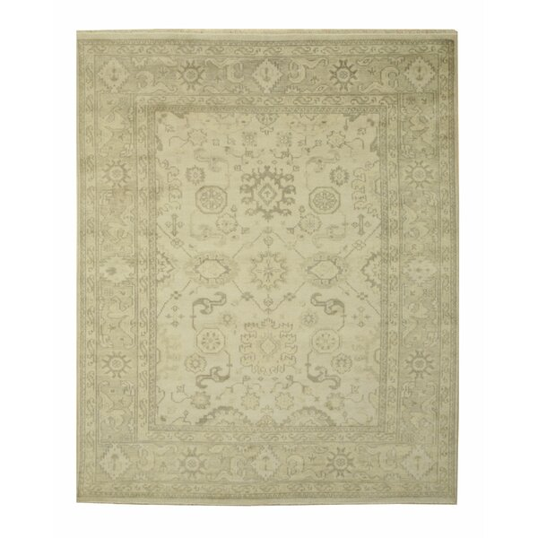 Monochrome Oushak Hand-Knotted Ivory Area Rug by Eastern Rugs