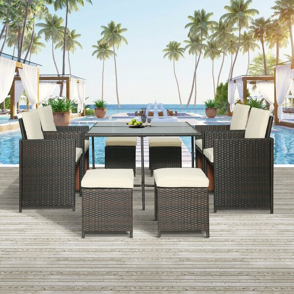 Clelia 9 Piece Dining Set with Cushions