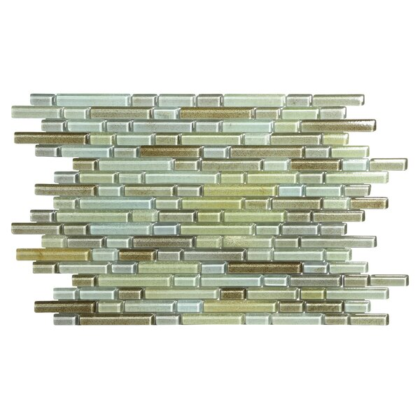 Hi-Fi Offset Linear Random Sized Glass Mosaic Tile in Green/Beige/Brown by Kellani