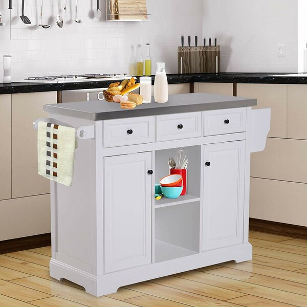 Sallie Kitchen Island with Stainless Steel Top by Highland Dunes