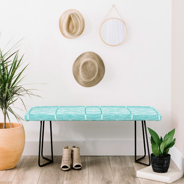 Shifting Pyramids Cyan Faux Leather Bench by East Urban Home East Urban Home