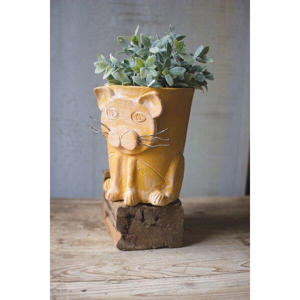 Farrington Clay Cat Pot Planter by Wrought Studio
