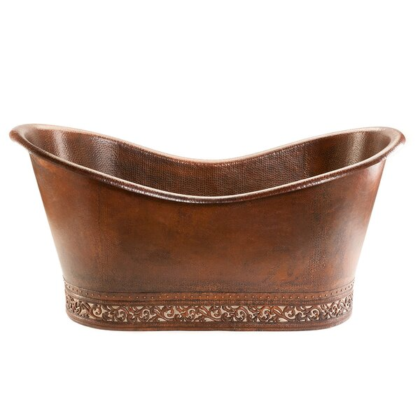 67 x 32 Hammered Copper Double Soaking Bathtub with Scroll Base and Nickel Inlayper Tub by Premier Copper Products