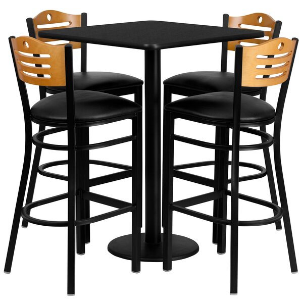 Joyeta 5 Piece Pub Table Set in Black by Red Barrel Studio