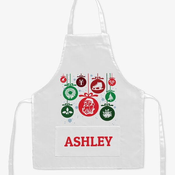 Snowflake Ornament Personalized Kid Apron by Monogramonline Inc.