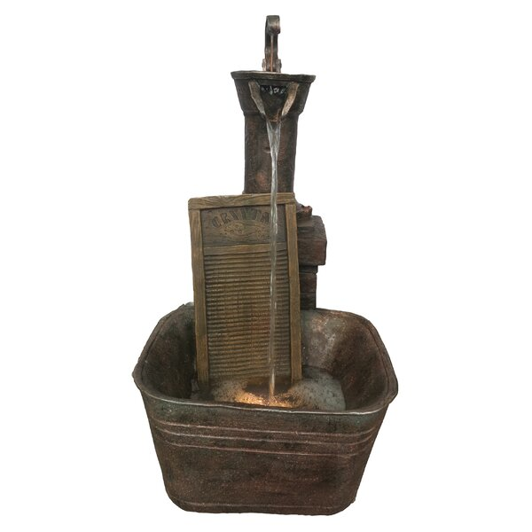 Resin Washboard Fountain with Light by Alpine