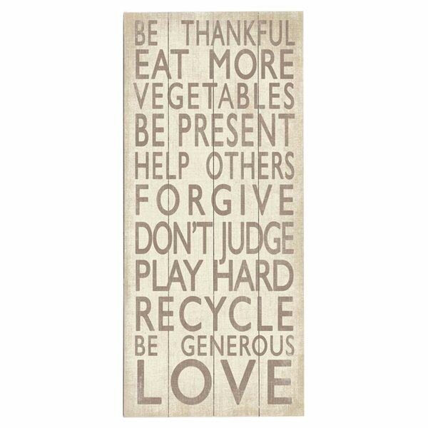 Be Thankful Graphic Art Print Multi-Piece Image on Wood by Artehouse LLC