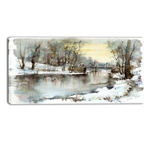 Bridge Over River Landscape Painting Print on Wrapped Canvas by Design Art
