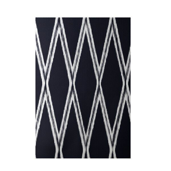 Gate Keeper Geometric Print Navy Indoor/Outdoor Area Rug by e by design