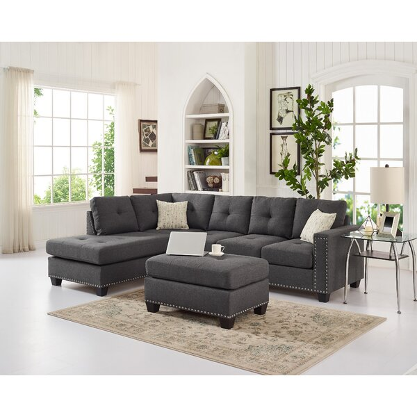 Burdett Modern Reversible Sectional with Ottoman by Winston Porter