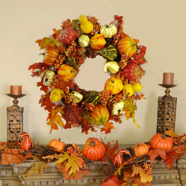 Pumpkin and Gourd 24 Festive Fall Wreath by Floral Home Decor