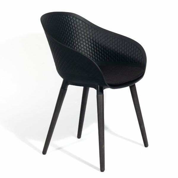 Kern Upholstered Plastic Wingback Arm Chair in Black (Set of 2) by Brayden Studio Brayden Studio