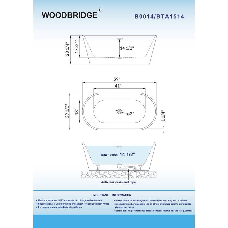 59 X 30 Freestanding Soaking Bathtub