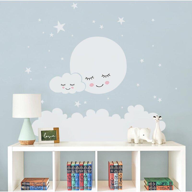 Sweet Dreams Little One White on Grey Nursery Print Bedroom Wall Art Moon Stars