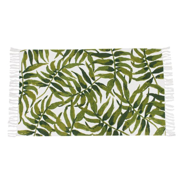 Amiya Leaf Printed Fringe Green Indoor Area Rug by Bayou Breeze