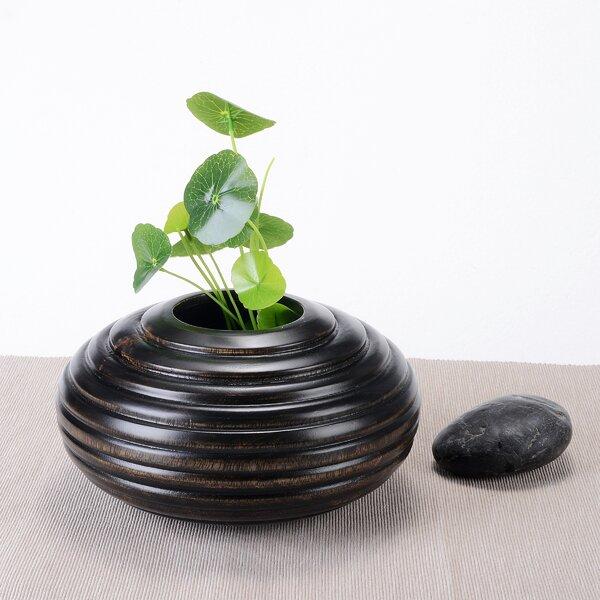 Molesley Short Round Ripple Mango Wood Table Vase by World Menagerie